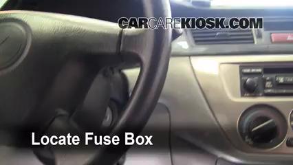 interior fuse box location 2002 2007 mitsubishi lancer 2007 Mitsubishi Lancer Ralliart 2012 Lancer
