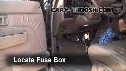 interior fuse box location 1990 1995 toyota 4runner 1994 toyota locate interior fuse box and remove cover