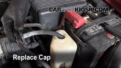 fix coolant leaks 1993 1997 geo prizm 1993 geo prizm 1 6l 4 cyl secure the coolant reservoir cap