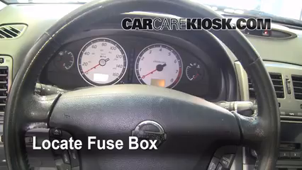 interior fuse box location 2000 2003 nissan maxima 2002 nissan 2001 Nissan Altima Fuse Diagram locate interior fuse box and remove cover 2001 nissan altima fuse diagram