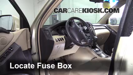 Interior Fuse Box Location 2001 2007 Toyota Highlander
