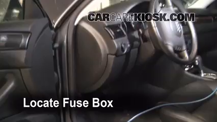interior fuse box location 1998 2004 audi a6 2004 audi a6 3 0l v6 locate interior fuse box and remove cover
