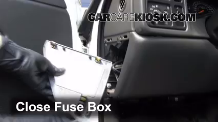 interior fuse box location 1999 2007 chevrolet silverado 1500 secure the cover and test component