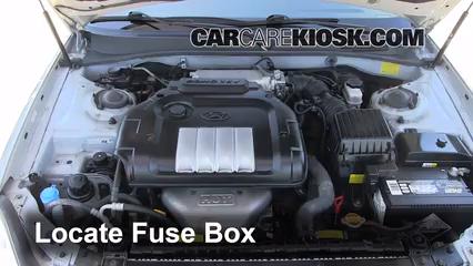 replace a fuse 2002 2005 hyundai sonata 2004 hyundai sonata 2 4 locate engine fuse box and remove cover