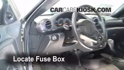 interior fuse box location 1995 2005 pontiac sunfire 2005 locate interior fuse box and remove cover