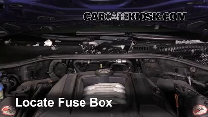 replace a fuse 2004 2010 volkswagen touareg 2008 volkswagen locate engine fuse box and remove cover