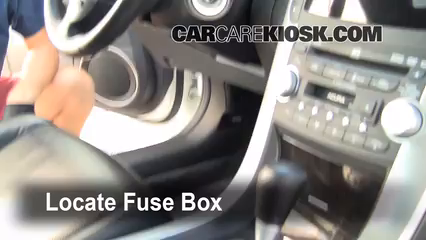 interior fuse box location 2004 2008 acura tl 2007 acura tl 3 2l v6 locate interior fuse box and remove cover
