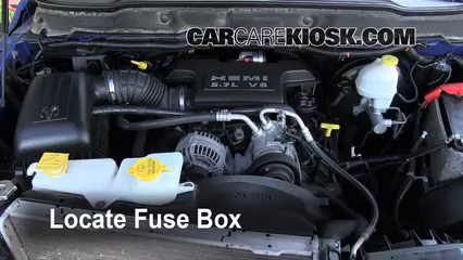 replace a fuse 2006 2008 dodge ram 1500 2007 dodge ram 1500 locate engine fuse box and remove cover