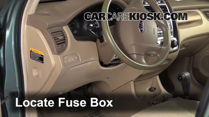 interior fuse box location kia sportage kia locate interior fuse box and remove cover