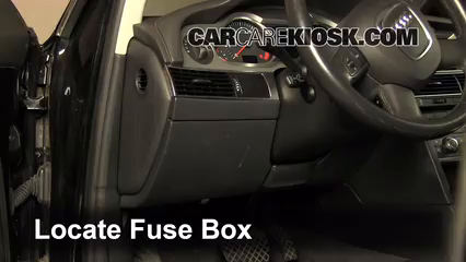 interior fuse box location 2005 2011 audi a6 2008 audi a6 3 2l v6 locate interior fuse box and remove cover