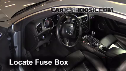 interior fuse box location 2008 2016 audi s5 2008 audi s5 4 2l v8 locate interior fuse box and remove cover