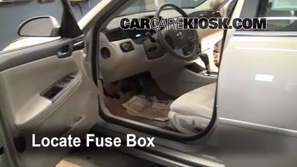 interior fuse box location chevrolet impala  interior fuse box location 2006 2016 chevrolet impala 2008 chevrolet impala lt 3 5l v6 flexfuel