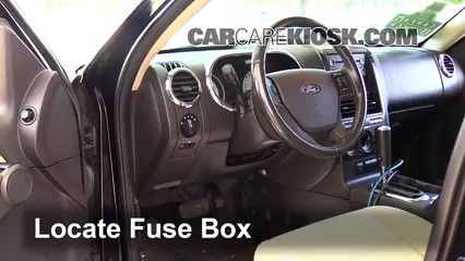 interior fuse box location 2007 2010 ford explorer sport trac locate interior fuse box and remove cover