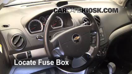 interior fuse box location 2004 2011 chevrolet aveo 2009 locate interior fuse box and remove cover