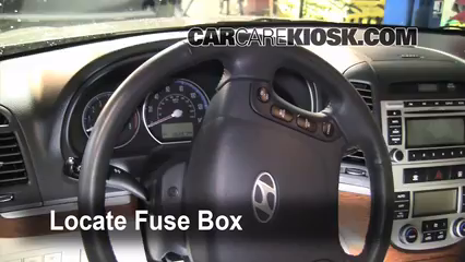 interior fuse box location 2007 2012 hyundai santa fe 2009 locate interior fuse box and remove cover