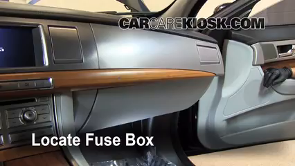 interior fuse box location 2009 2015 jaguar xf 2009 jaguar xf locate interior fuse box and remove cover