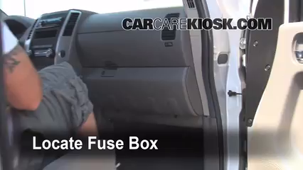 interior fuse box location 2005 2016 nissan frontier 2009 locate interior fuse box and remove cover