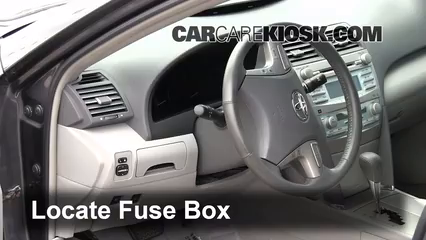 interior fuse box location 2007 2011 toyota camry 2009 toyota locate interior fuse box and remove cover