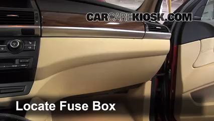 interior fuse box location 2008 2014 bmw x6 2010 bmw x6 locate interior fuse box and remove cover