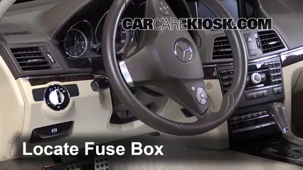 interior fuse box location mercedes benz e  locate interior fuse box and remove cover