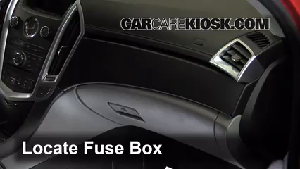 interior fuse box location 2010 2016 cadillac srx 2011 cadillac locate interior fuse box and remove cover