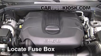 replace a fuse 2011 2016 dodge durango 2011 dodge durango crew locate engine fuse box and remove cover