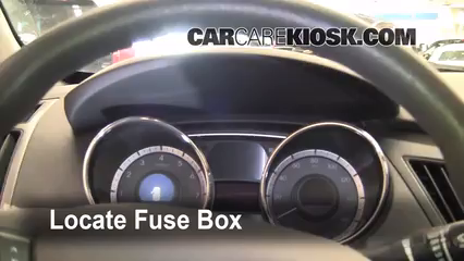 interior fuse box location 2011 2015 hyundai sonata 2012 Hyudnai Sonata Fuse Box Intrnal locate interior fuse box and remove cover