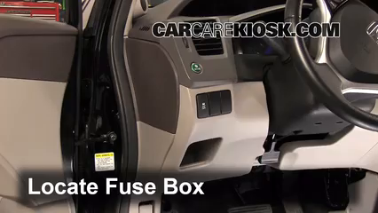 interior fuse box location 2012 2015 honda civic 2012 honda locate interior fuse box and remove cover