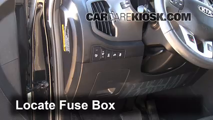 interior fuse box location 2011 2016 kia sportage 2011 kia locate interior fuse box and remove cover
