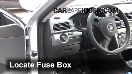 interior fuse box location volkswagen passat  interior fuse box location 2012 2016 volkswagen passat 2012 volkswagen passat s 2 5l 5 cyl sedan 4 door