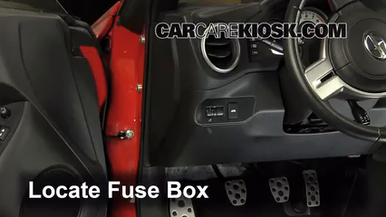 interior fuse box location 2013 2016 scion fr s 2013 scion fr s locate interior fuse box and remove cover