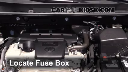 replace a fuse 2013 2016 toyota rav4 2013 toyota rav4 limited locate engine fuse box and remove cover