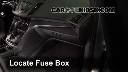 interior fuse box location 2013 2016 ford escape 2014 ford locate interior fuse box and remove cover