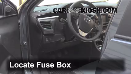 interior fuse box location 2014 2016 toyota corolla 2014 toyota How To Change A Fuse In A Fuse Box locate interior fuse box and remove cover how to change a fuse in a fuse box