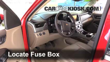 interior fuse box location chevrolet tahoe  locate interior fuse box and remove cover