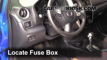interior fuse box location nissan versa note  interior fuse box location 2014 2016 nissan versa note 2015 nissan versa note s 1 6l 4 cyl