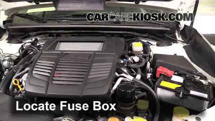 replace a fuse 2013 2016 subaru wrx 2015 subaru wrx limited 2 0 locate engine fuse box and remove cover